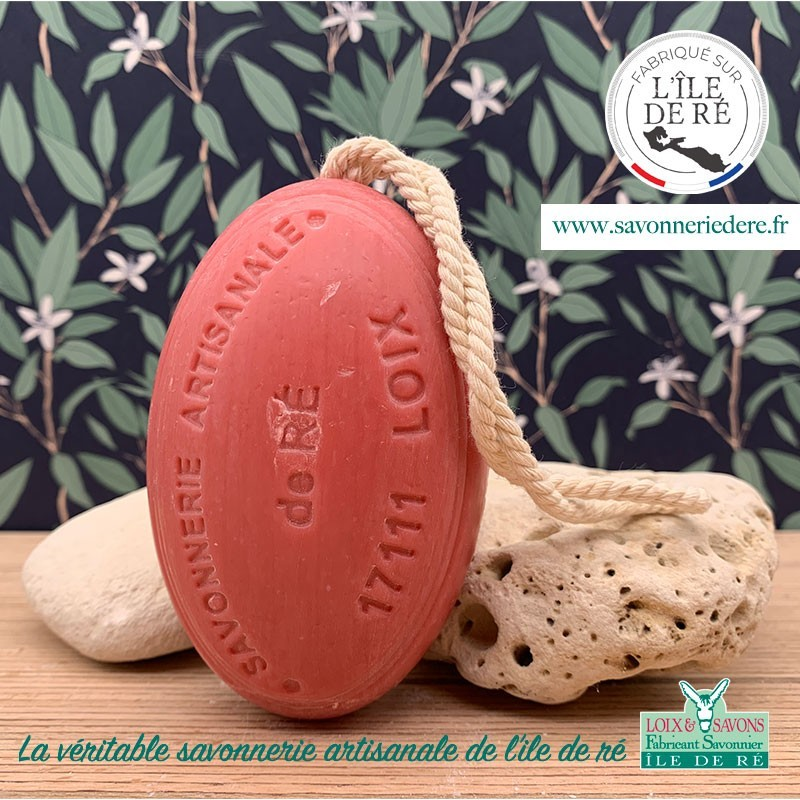 Savon ficelle parfum fraise 200 g - Savonnerie de Ré de l'ile de re