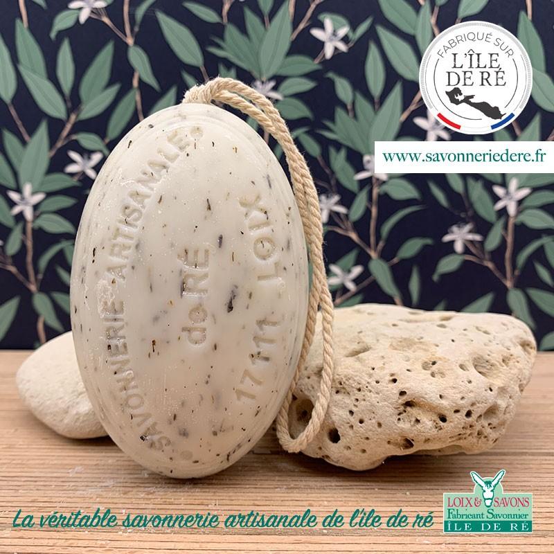 Savon ficelle feuilles de menthe poivrée - 200 g- savonnerie artisanale de l'ile de ré