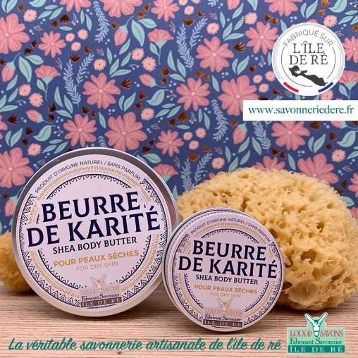 Cosmetique Beurre de karité bio sans parfum 135 gr au lait frais des ânesses de l'ile de re - Savonnerie de ré de l'ile de re