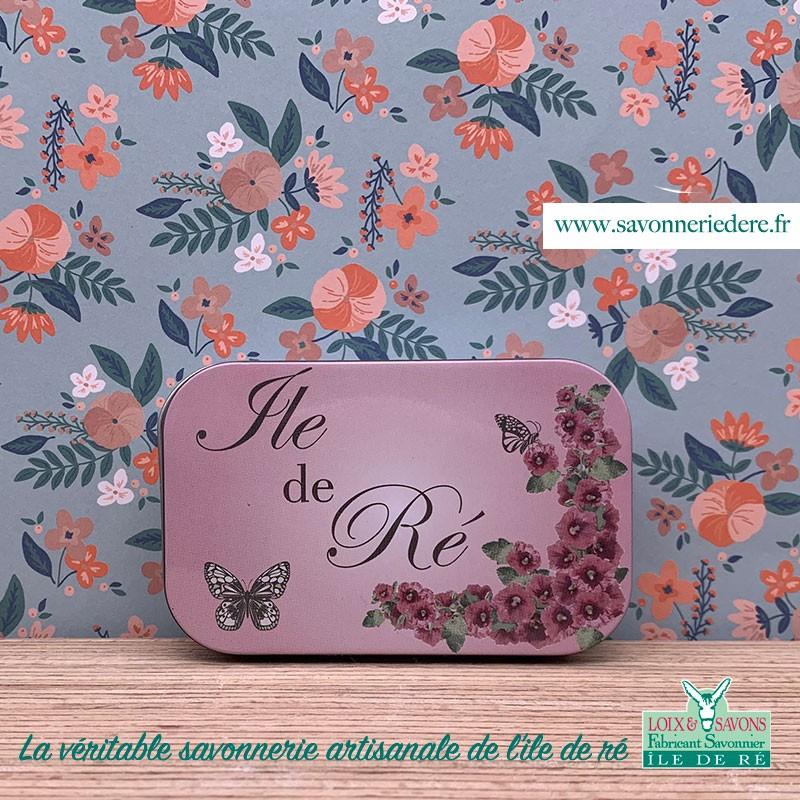 Boîte en métal rose trémière - Savonnerie artisanale de l'ile de re