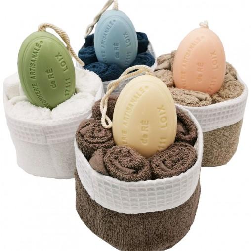 Corbeille serviettes et savons - savonnerie de l'ile de ré loix et savons