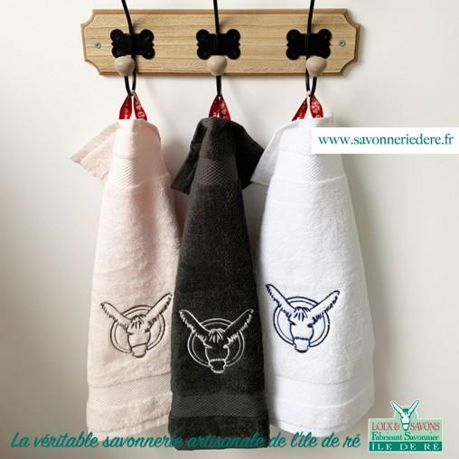 Serviette invités logo âne 30 x 50 cm - savonnerie artisanale de l'ile de ré