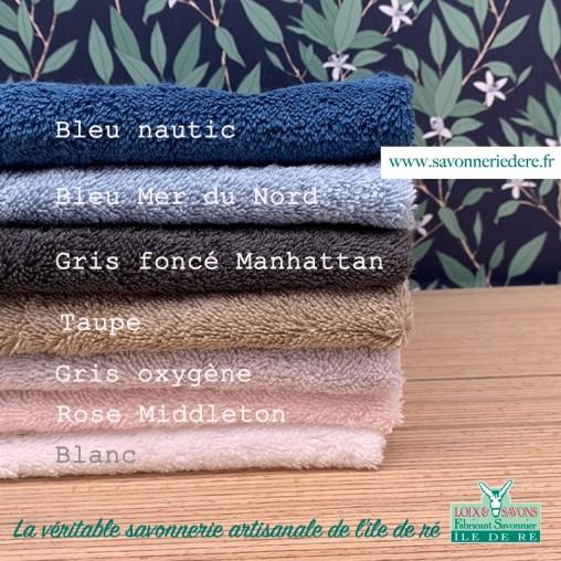 Couleurs serviette invité logo âne 30 x 50 cm - savonnerie artisanale de l'ile de ré