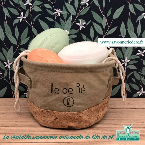 Corbeille tissus / liège - savonnerie de l'ile de ré loix et savons