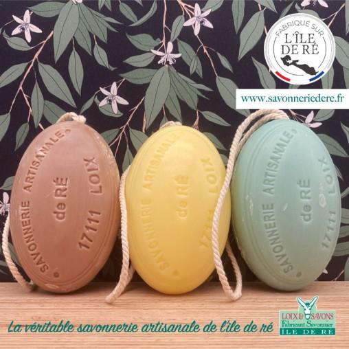 Lot 3 savons ficelle surgras - savonnerie de l'ile de ré - loix et savons