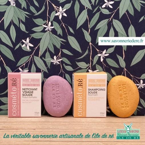 Pack découverte : shampoing solide nourrissant + nettoyant solide visage