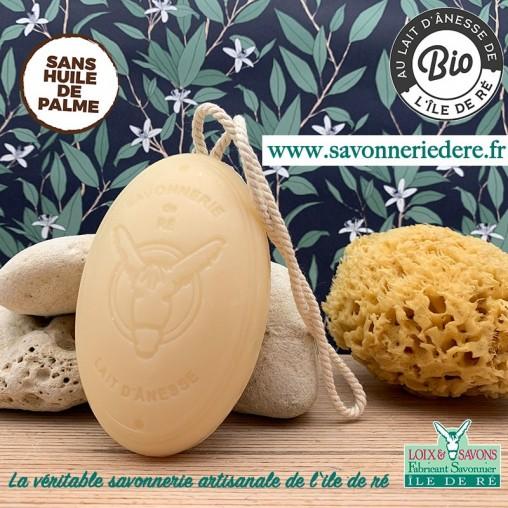 Savon artisanal ficelle au lait d'anesse bio 200g sans huile de palme