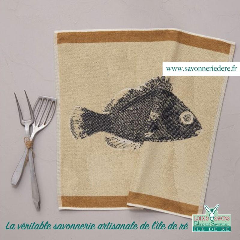 Torchon carré eponge poisson savonnerie de l'ile de re